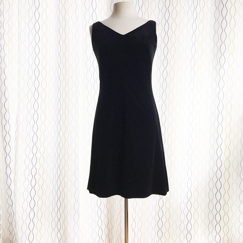 Vintage s black velvet dress lbd little black dress cocktail