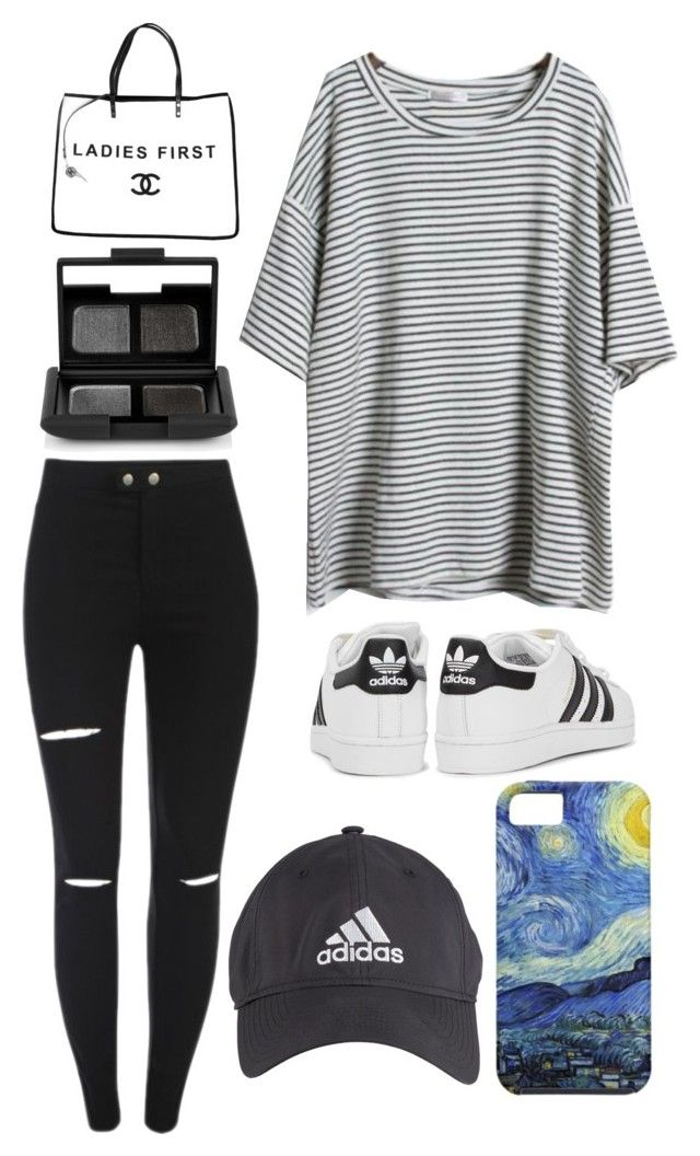 """up, down, & sideways"" by mvpmads ❤ liked on Polyvore featuring NARS Cosmetics, Chanel, adidas Originals and adidas"
