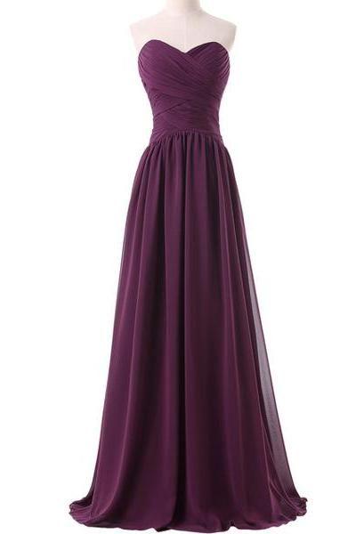 e5cb2a9b075f A-line Floor Length Purple prom-dresses-cheap Sweetheart Neckline Lace-up  Back Pleated Chiffon Vestido De Festa Longo CS158