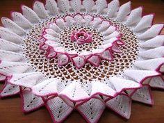 Linda toalha de crochê flor