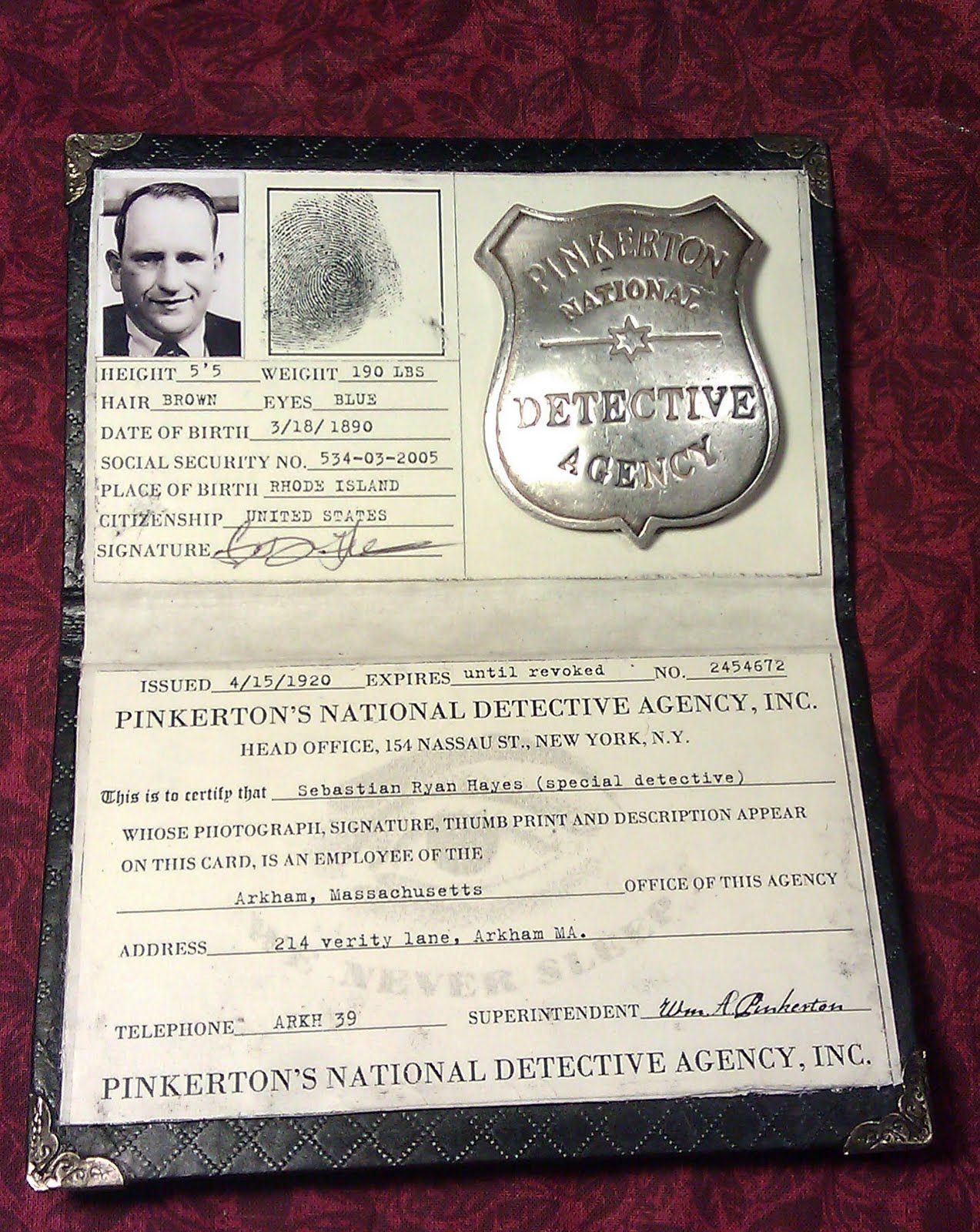 Prop reproduction of Pinkerton Detective credentials - by ...