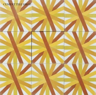 Cement Tile Shop - Handmade Cement Tile   Guillermo & Tania Collection - Asterdisc 2A. Call (800) 704-2701 for more information.
