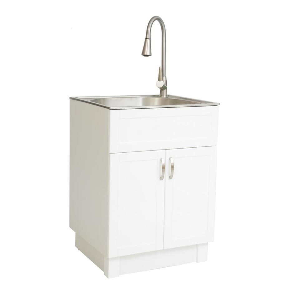 Transform 21 34 In X 24 17 In 1 Basin White Freestanding Stainless Steel Laundry Sink With And Faucet Lowes Com Laundry Sink Sink Basin White