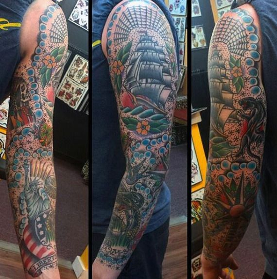 60 Traditional Tattoo Sleeve Designs For Men Old School Ideas Traditional Tattoo Sleeve Sleeve Tattoos Tattoo Sleeve Designs