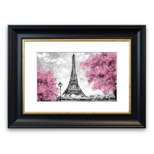 Gerahmtes Poster Eiffelturm mit rosafarbenen Bäumen East Urban Home Größe: 93 cm H x 70 cm B, Rahmenart: Grau #eiffeltower
