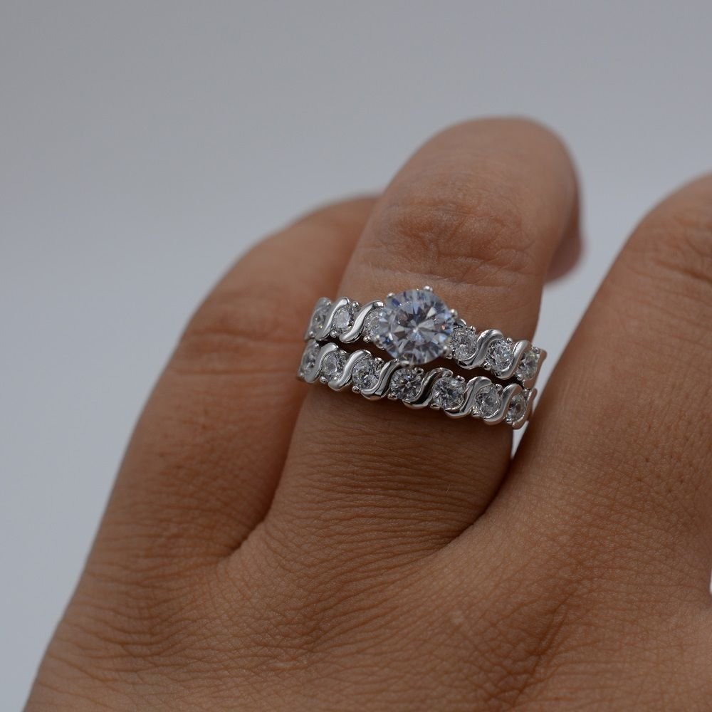 size 10 fashion diamonique cz 925 sterling silver engagement wedding ring set - Diamonique Wedding Rings