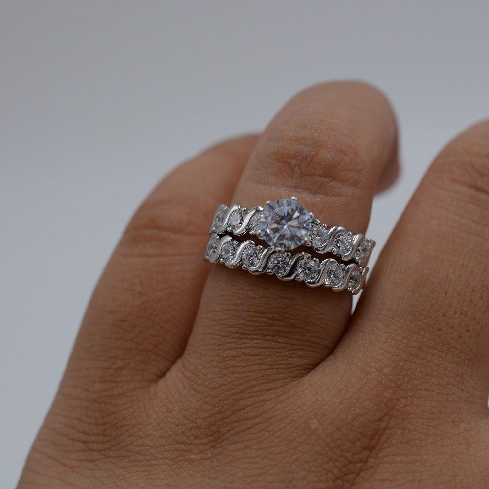 Size 10 Fashion Diamonique CZ 925 Sterling Silver Engagement Wedding