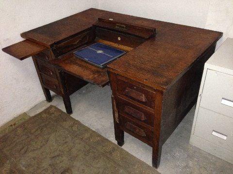 Antique Oak Hideaway Desk Secret Lock Filedrawer Desk Solid