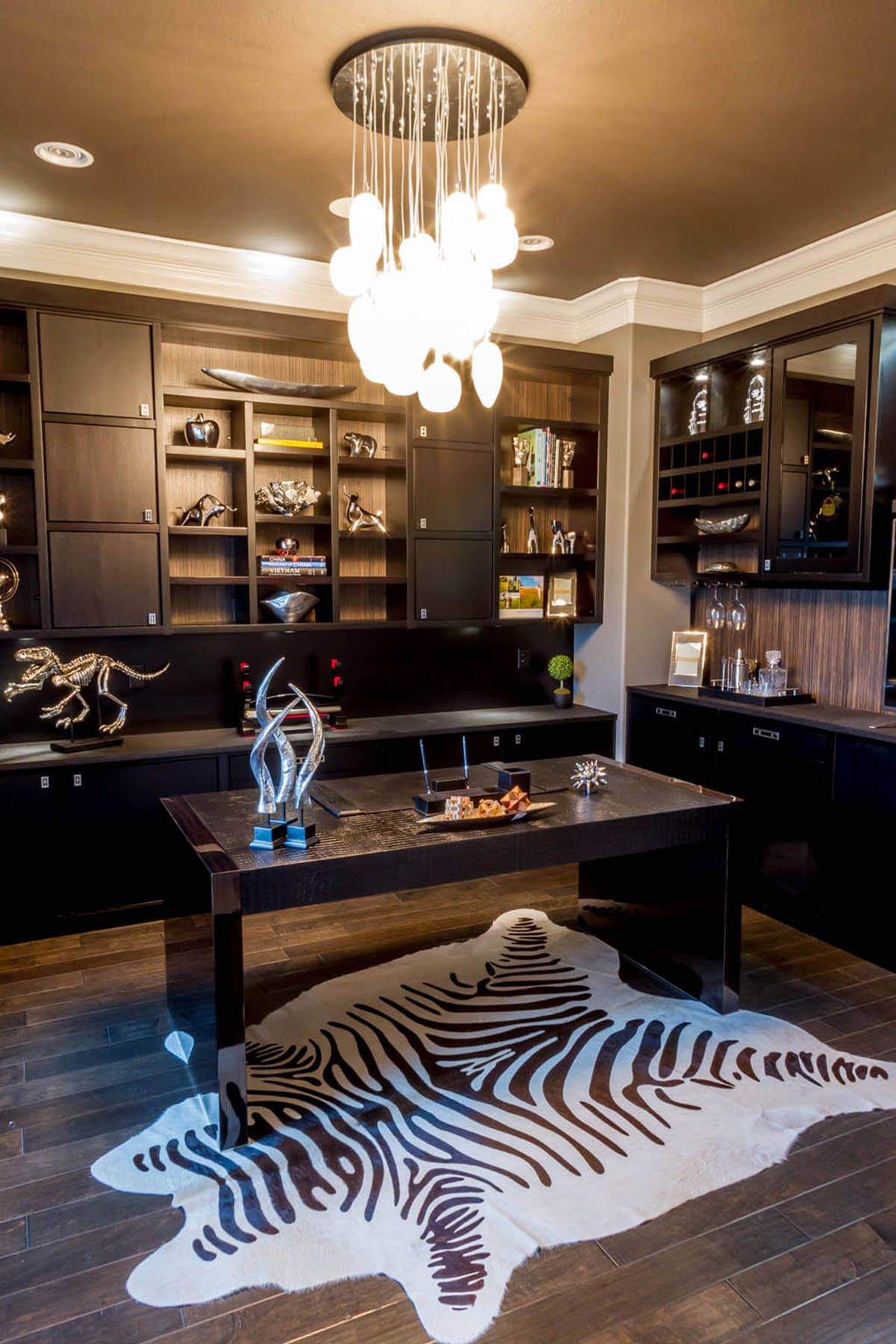 masculine home office. Masculine Home Office With Dark Contemporary Custom Furniture And Zebra Print Rug E