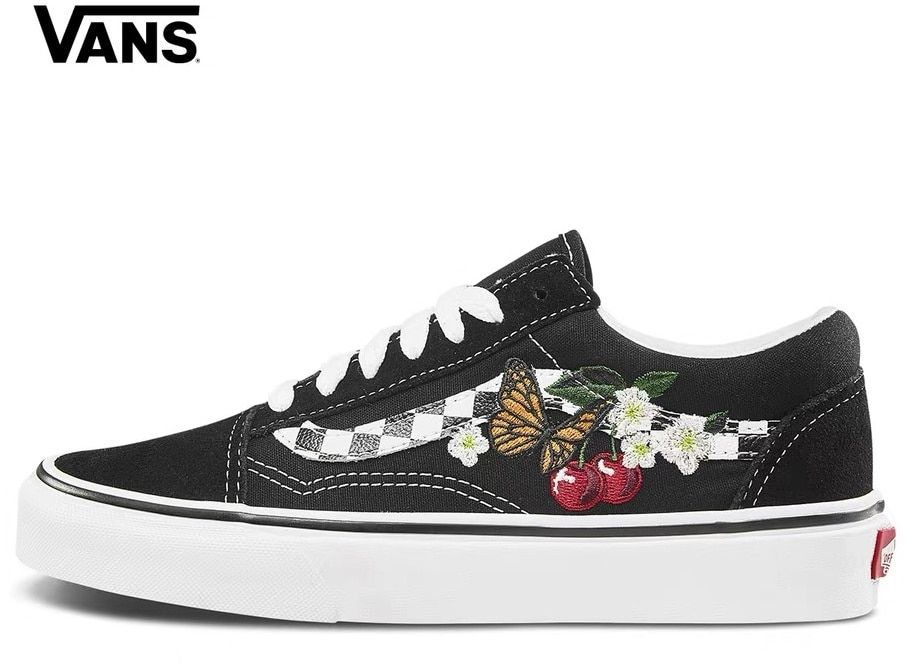 3fa78302e5 Original VANS OLD SKOOL butterfly cherry embroidery men and women casual  shoes Weight lifting shoes size 36-44(China)