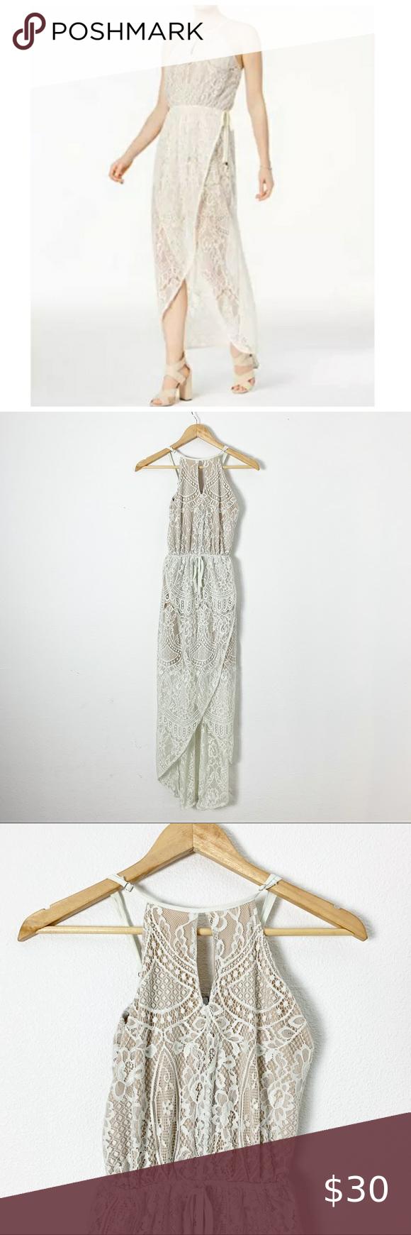 Bar III Lace Wrap Maxi Dress