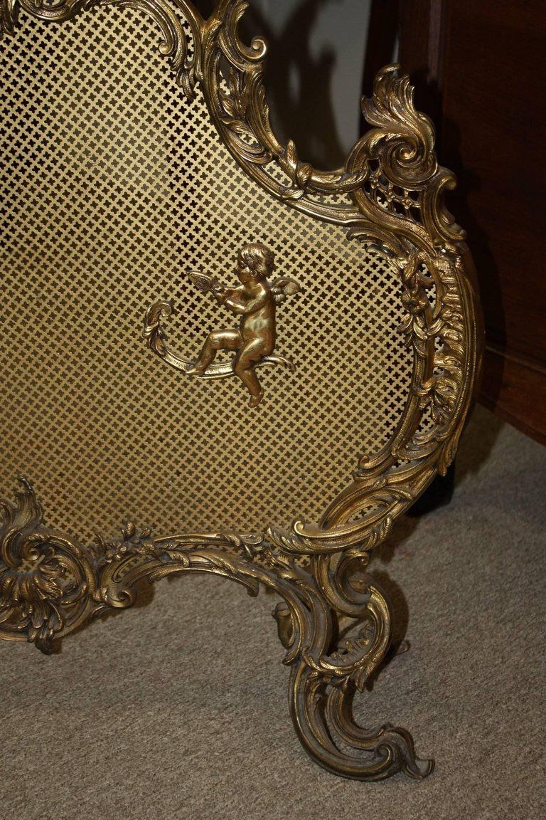 French Gilt Bronze Scroll Fire Place Screen Or Fire Screen For