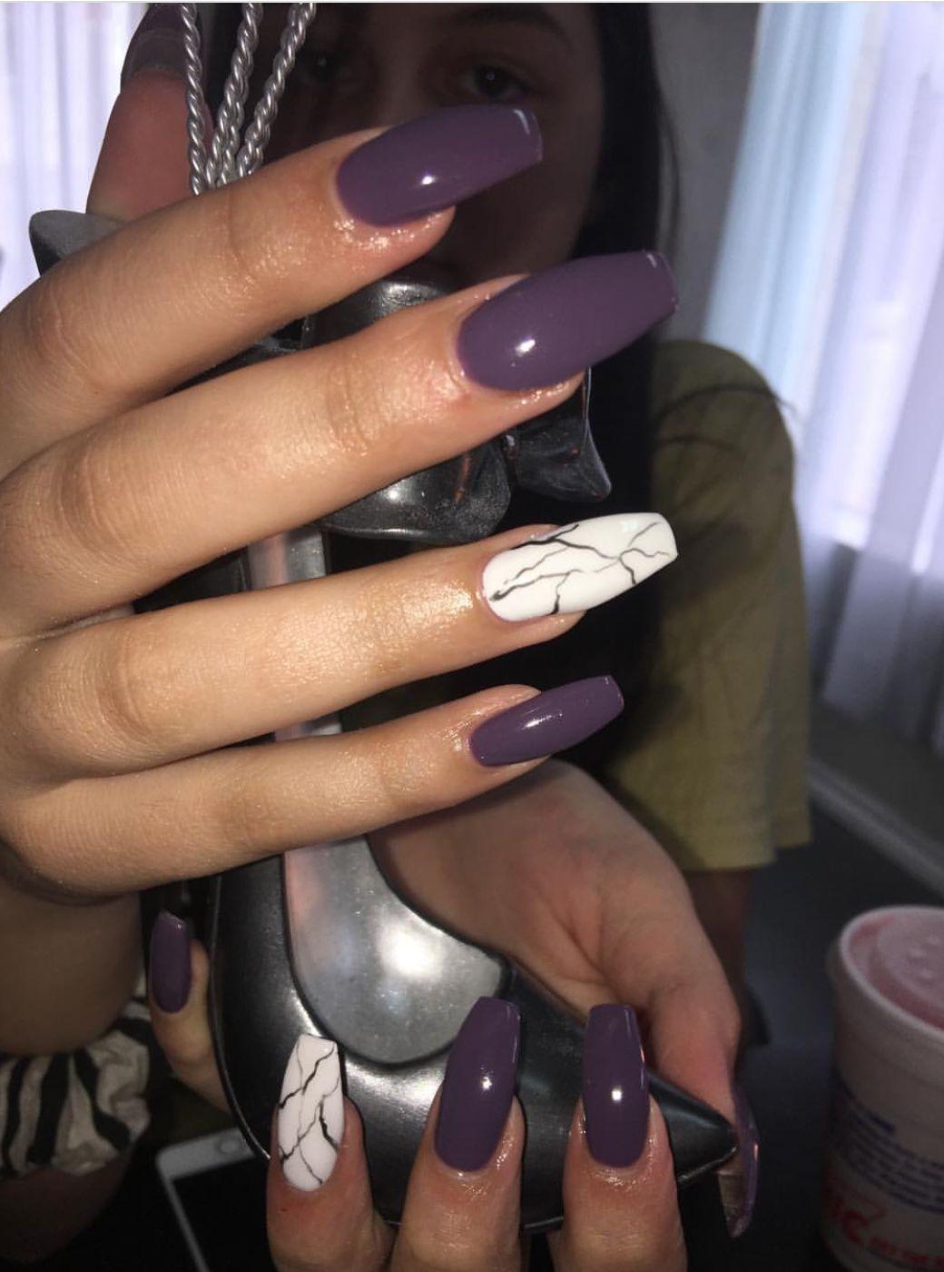 Purple Marble Coffin Nails Nailart Purple Acrylic Nails Nails Trendy Nails