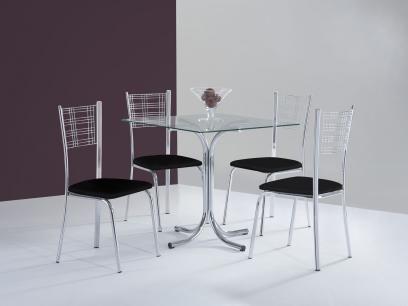 Conjunto de Mesa Aço Cromado 4 Cadeiras - Design Final Slin e Atlanta com as melhores condições você encontra no Magazine Dvoicetelecom. Confira!