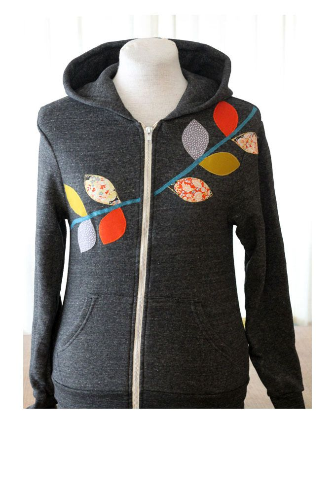 579dfe529b40 Leaf applique - cute idea for jazzing up a plain hoodie (Liberty Tumbling  Vine Hoodie by Domestica)