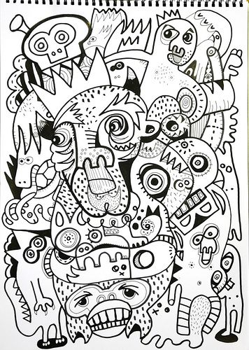 jon burgerman, a black and white design that consists of animals and abstract patterns, i like this design because you have to really look deep into it to figure out the different forms and animals made up from within the patterns. i like this style of work because it just looks like effortless doodling but when in reality it is very complex.
