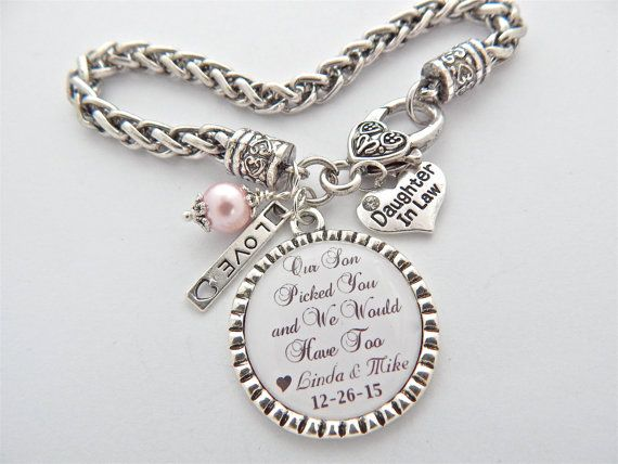 7f0901d6b DAUGHTER In LAW Gift, Bride to be Gift , Daughter in law Charm Bracelet,  Future Daugher in Law Gift Our son picked you and we would have too