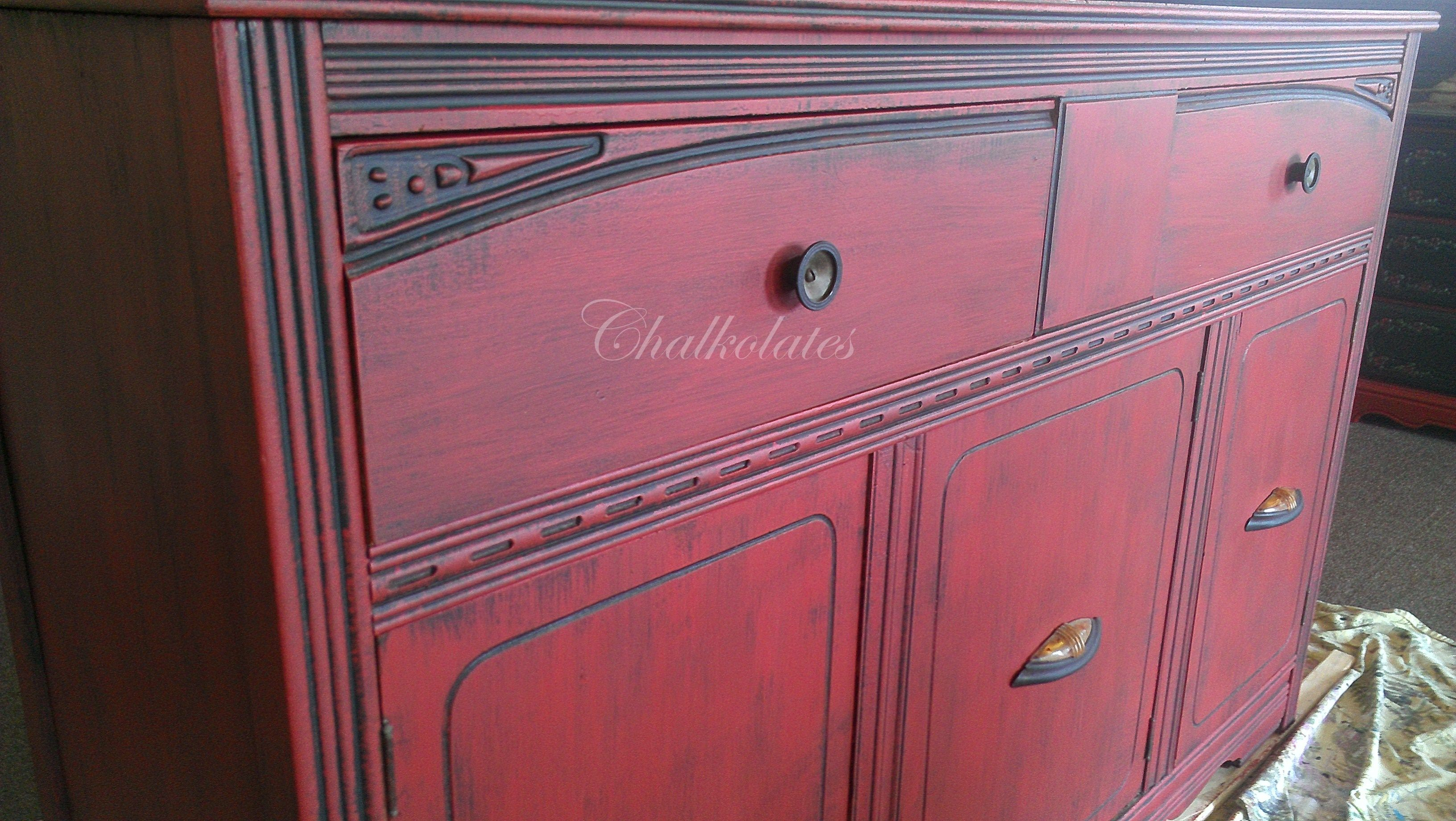 Deco Buffet Salon Red Distressed Art Deco Buffet Meubles Mobilier De Salon