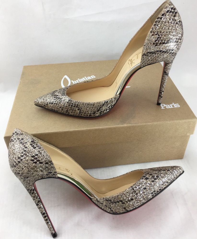 new product ad4b9 08251 Authentic Christian Louboutin Iriza 100 Glitter Eve Roccia ...