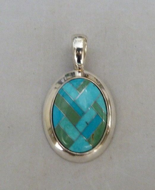 CAROLYN POLLACK STERLING SILVER INLAY TURQUOISE GASPEITE GEM ENHANCER PENDANT