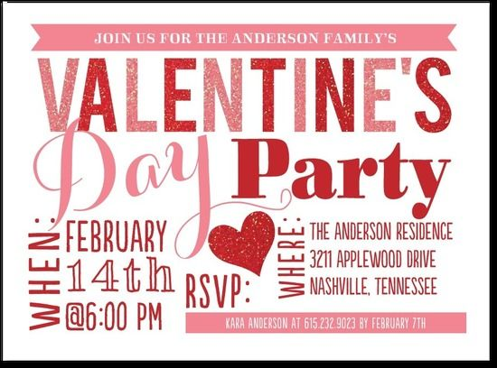 A Festive ValentineS Day Invite  ValentineS Day Ideas