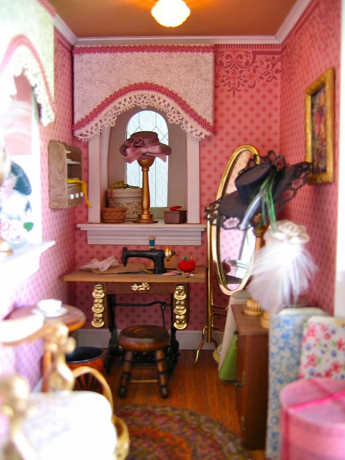 Dollhouse Minature Sewing Room Victorian Dollhouse Miniatures Dollhouse Miniatures Dollhouse Bedroom