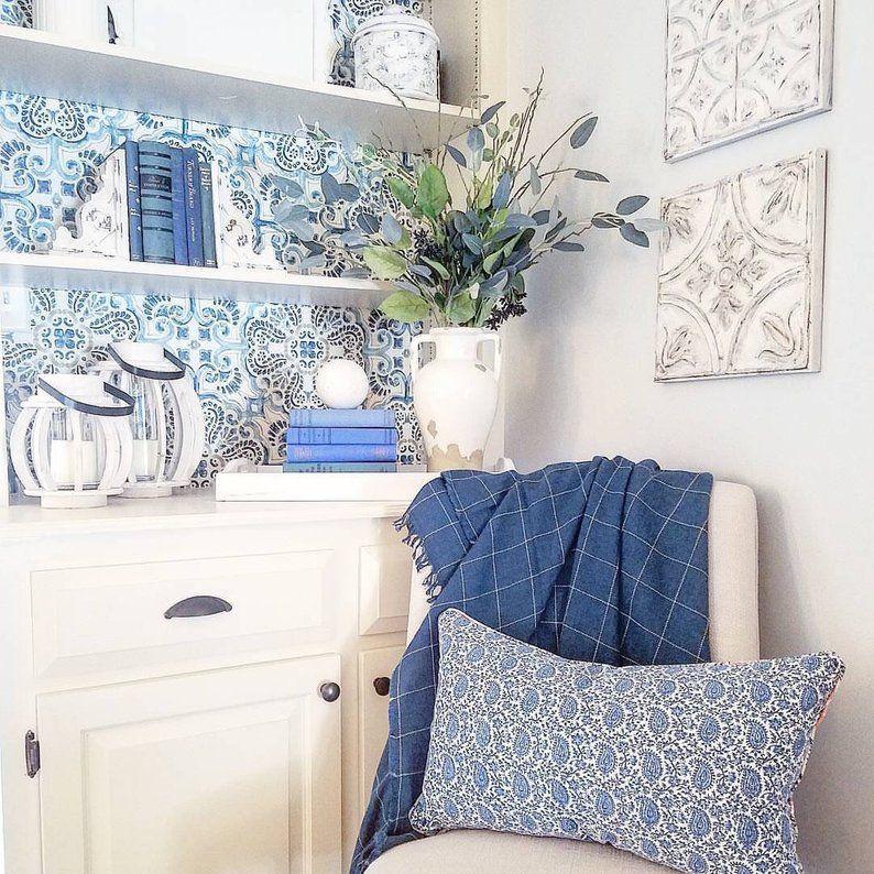 Peel And Stick Vintage Chic Blue Florentine Medallion Tile Etsy Living Room Makeover Vintage Chic Wood Plank Wallpaper