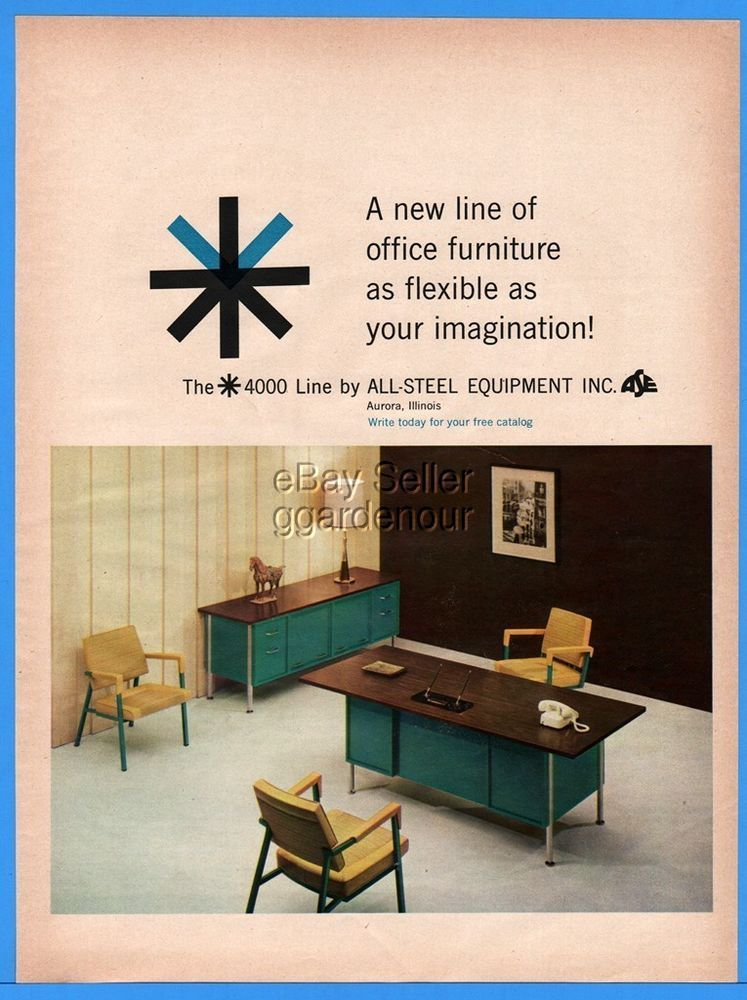 1960 All Steel Equipment Aurora IL Office Furniture Desk Chairs Flexible  Pic Ad