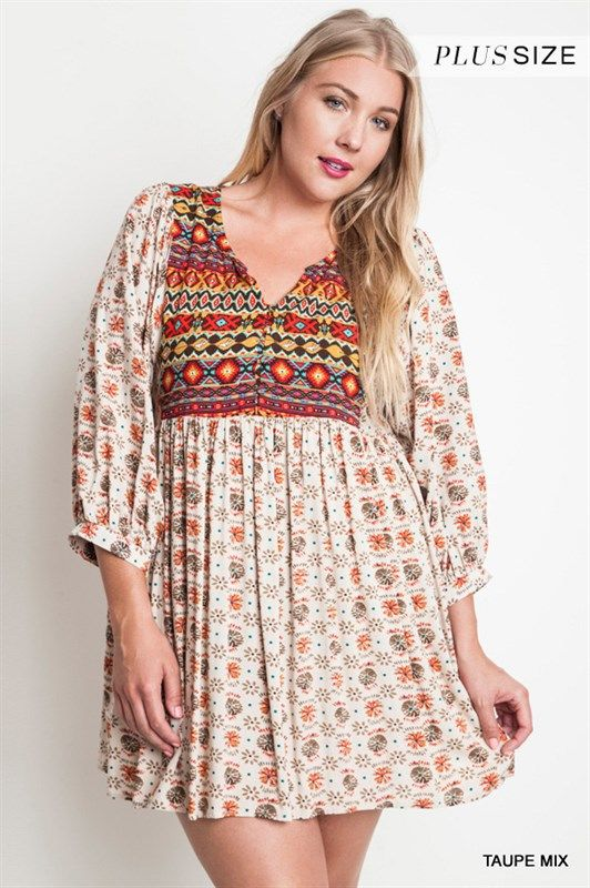 aee2354ad8 Online Clothing Boutique   Kelly Brett Boutique - Plus Size Babydoll Sleeve  Dress Taupe, $38.00