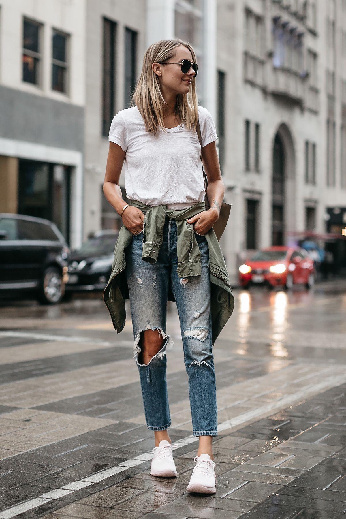 890763e97e9 Blonde Woman Wearing Nike React Running Shoe White Tshirt Ripped Denim Jeans  Green Utility Jacket Fashion Jackson Dallas Blogger Fashion Blogger Street  ...