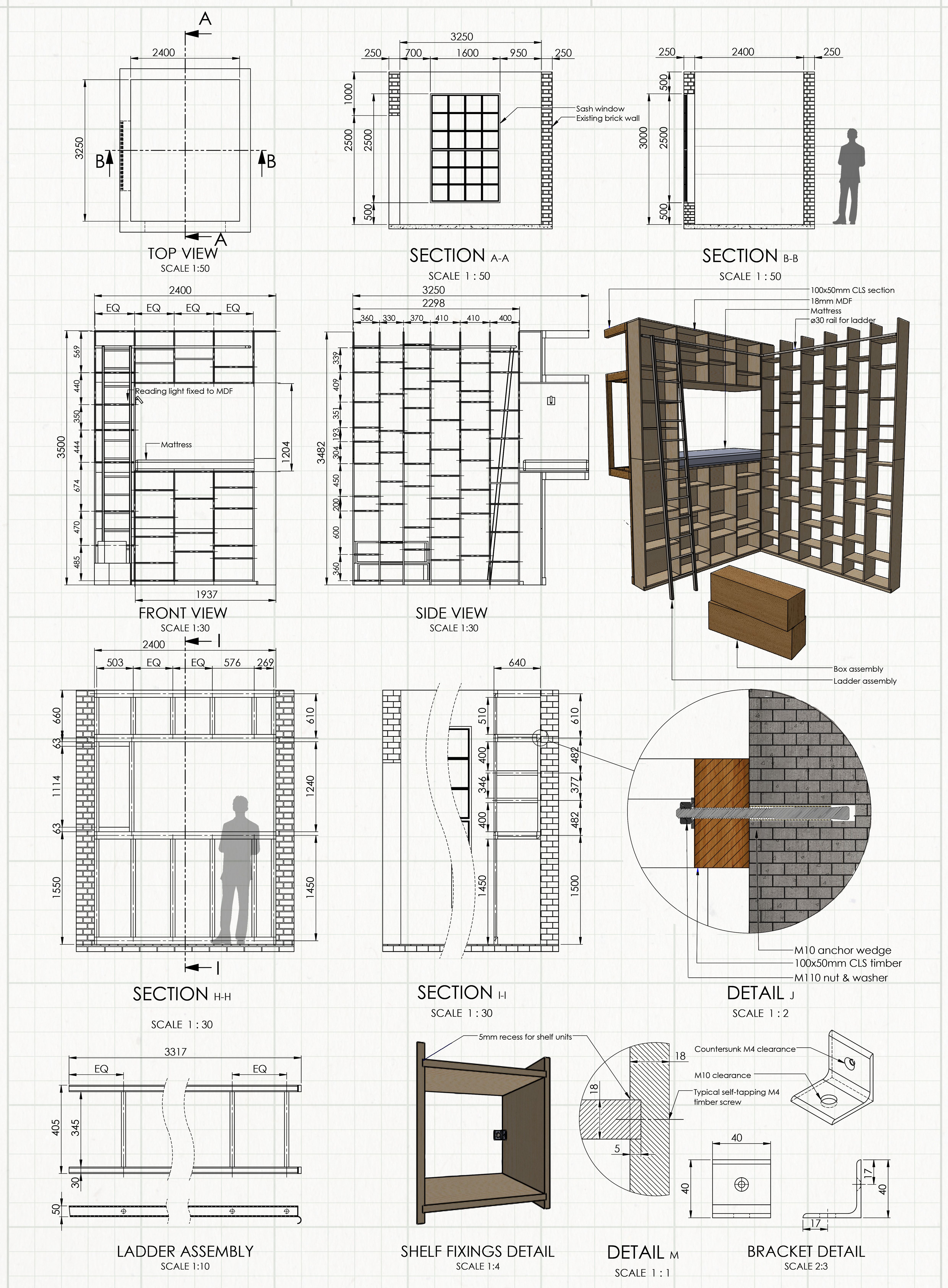 Home Library Assembly Drawing Design Construction Architecture Bookshelf Diy In 2020 Furniture Details Drawing Drawing Furniture Home Library Design
