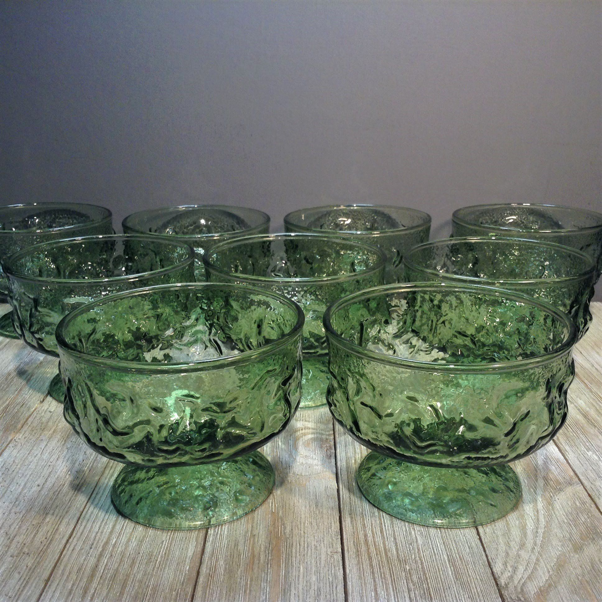 Set of 9 Vintage Avocado Anchor Hocking Milano Juice Glasses Vintage Crinkle Glasses
