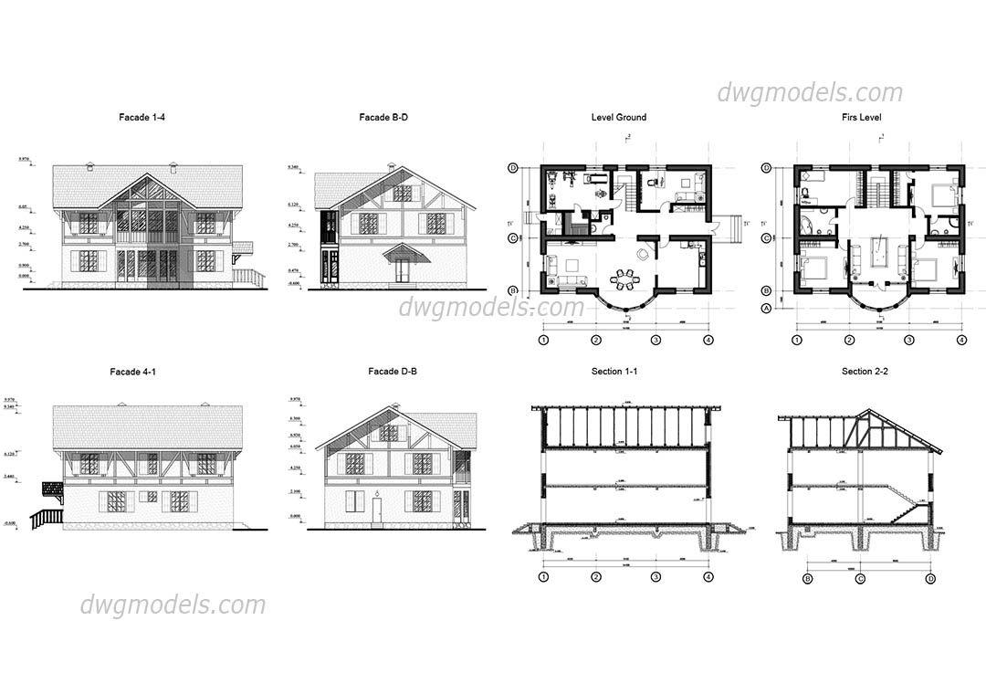 Villa 6 Villa Plan Autocad Architectural House Plans