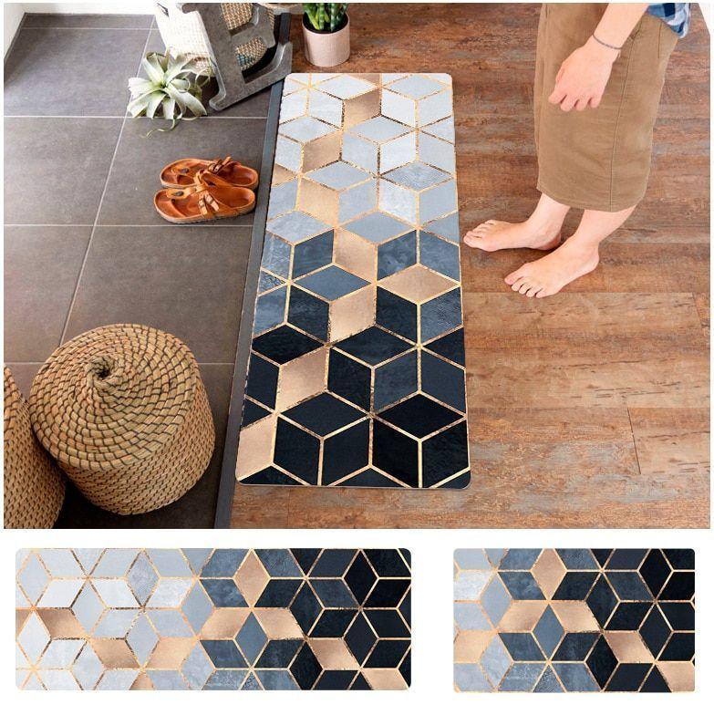 Household Pvc Leather Floor Mat Marble Grain Kitchen Strip Waterproof And Antisk Antisk Floor Grain H In 2020 Waterproof Rug Bathroom Rugs And Mats Bathroom Rugs