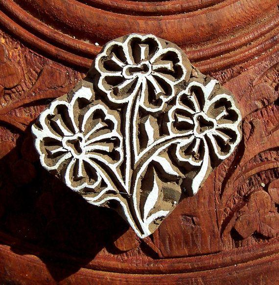 Hand Carved Floral Wood Stamp Indian Print by PrintBlockStamps, $10.50