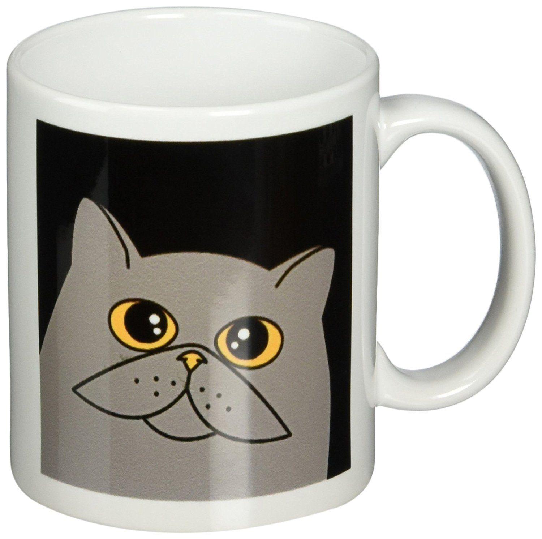 3drose The Curious Cat Grey With Orange Eyes Black Mug 11 Ounce See This Great Image Cat Mug Curious Cat Cat Mug Mugs