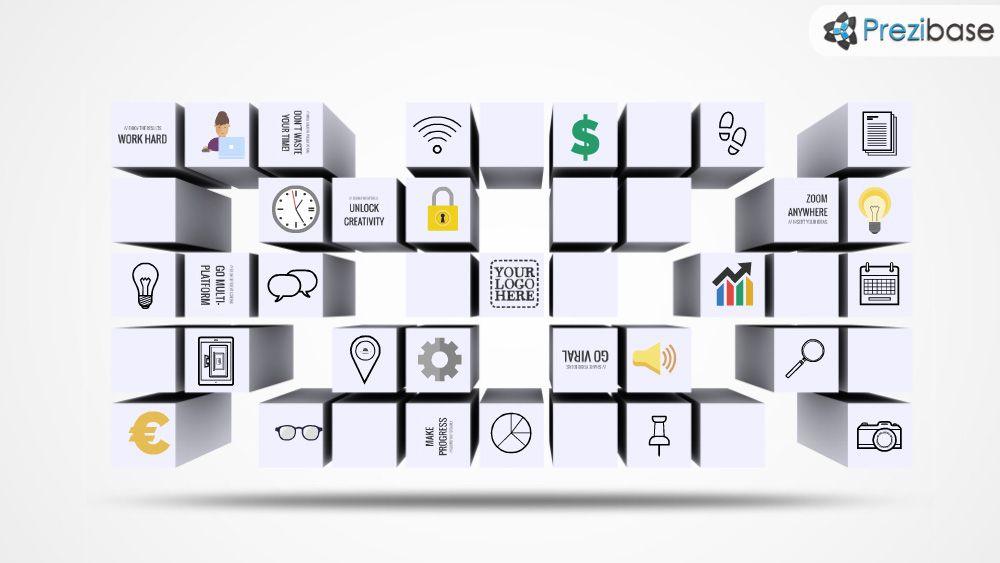 3D building blocks cubes prezi template for presentations