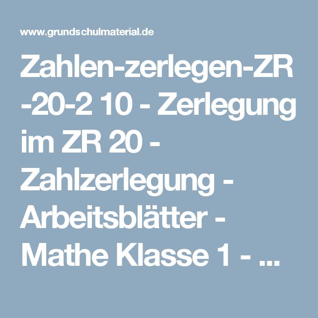 Zahlen-zerlegen-ZR-20-2 10 - Zerlegung im ZR 20 - Zahlzerlegung ...