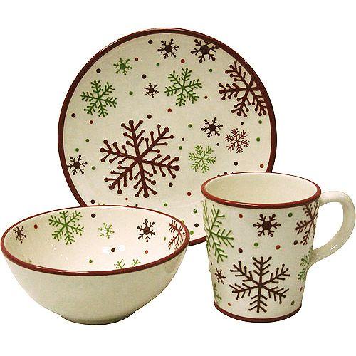 Christmas Plate Set.Christmas Dinner Plate Set Christmas Snowflake 12 Piece