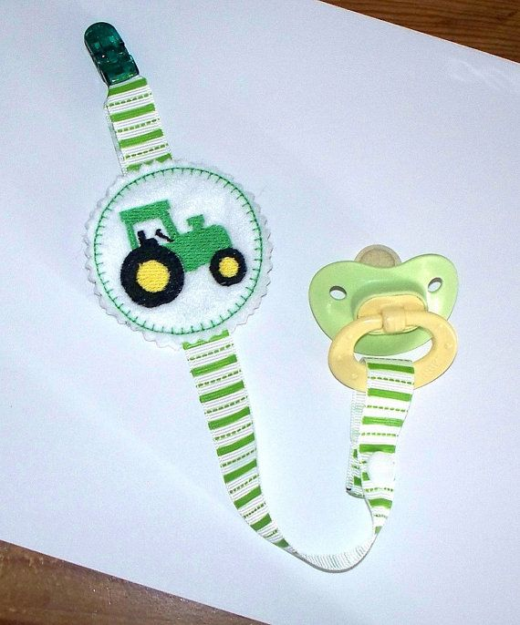 Baby Boy Pacifier Clip - Tractor in Green