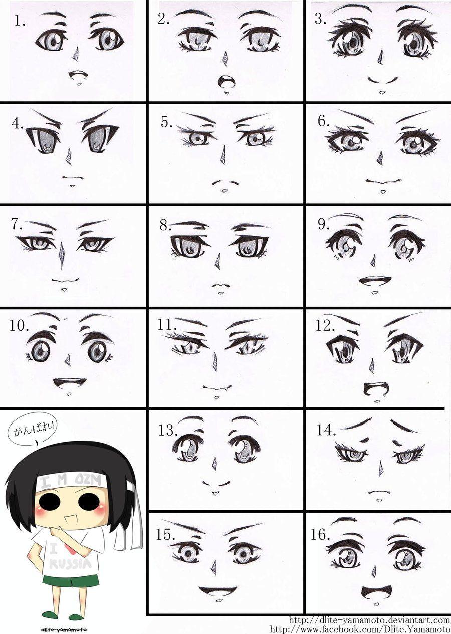 Anime eyes , mouth , ears Manga eyes, Anime faces