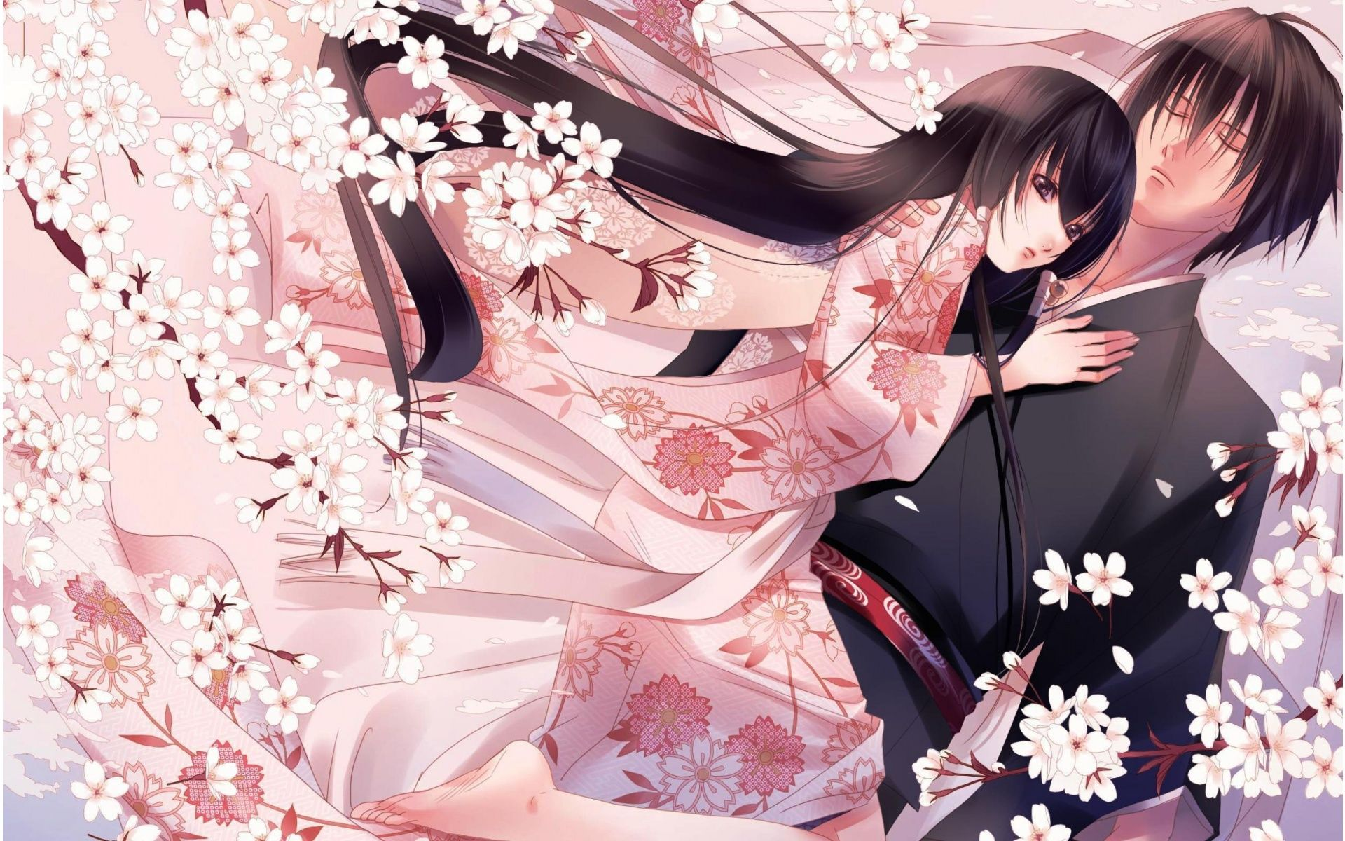 Anime couples Anime Couple Pink Flower 1920 x 1200