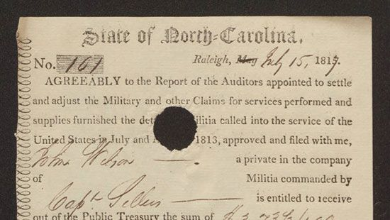 War of 1812 Pay Vouchers via North Carolina Digital Collections ...
