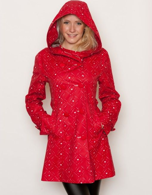 Little red riding hood! red hooded women's raincoat
