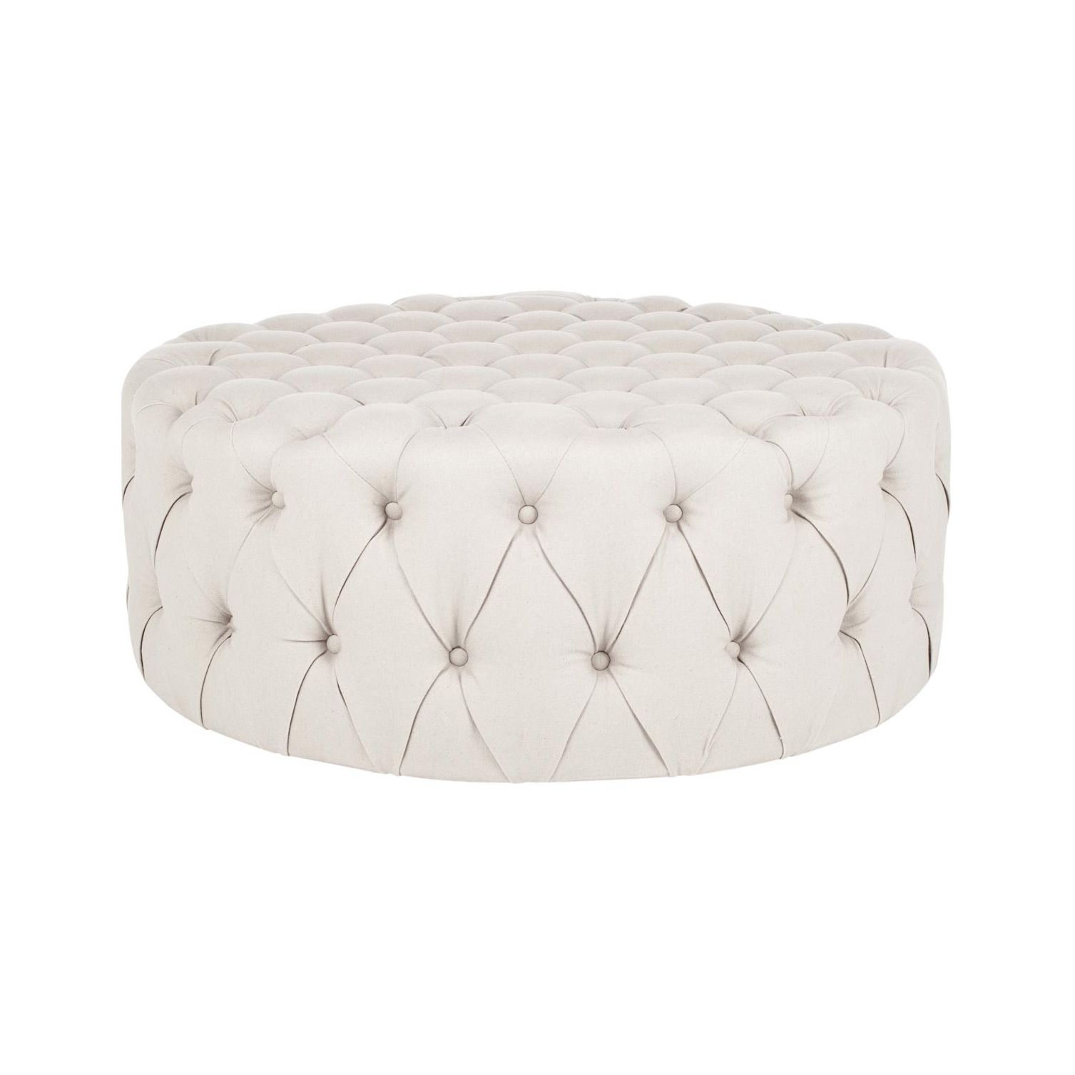 This luxurious ottoman is made from a stunning cream linen fabric ...