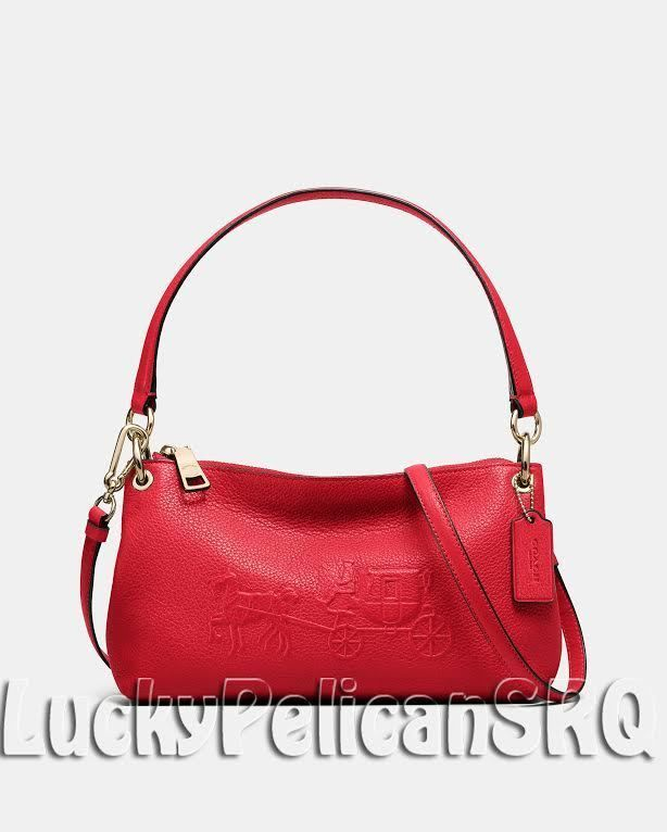 e8eda1b35133 COACH 33521 EMBOSSED HORSE AND CARRIAGE CHARLEY CROSSBODY BAG Gold Red NWT   Coach  crossbodyshoulderbag