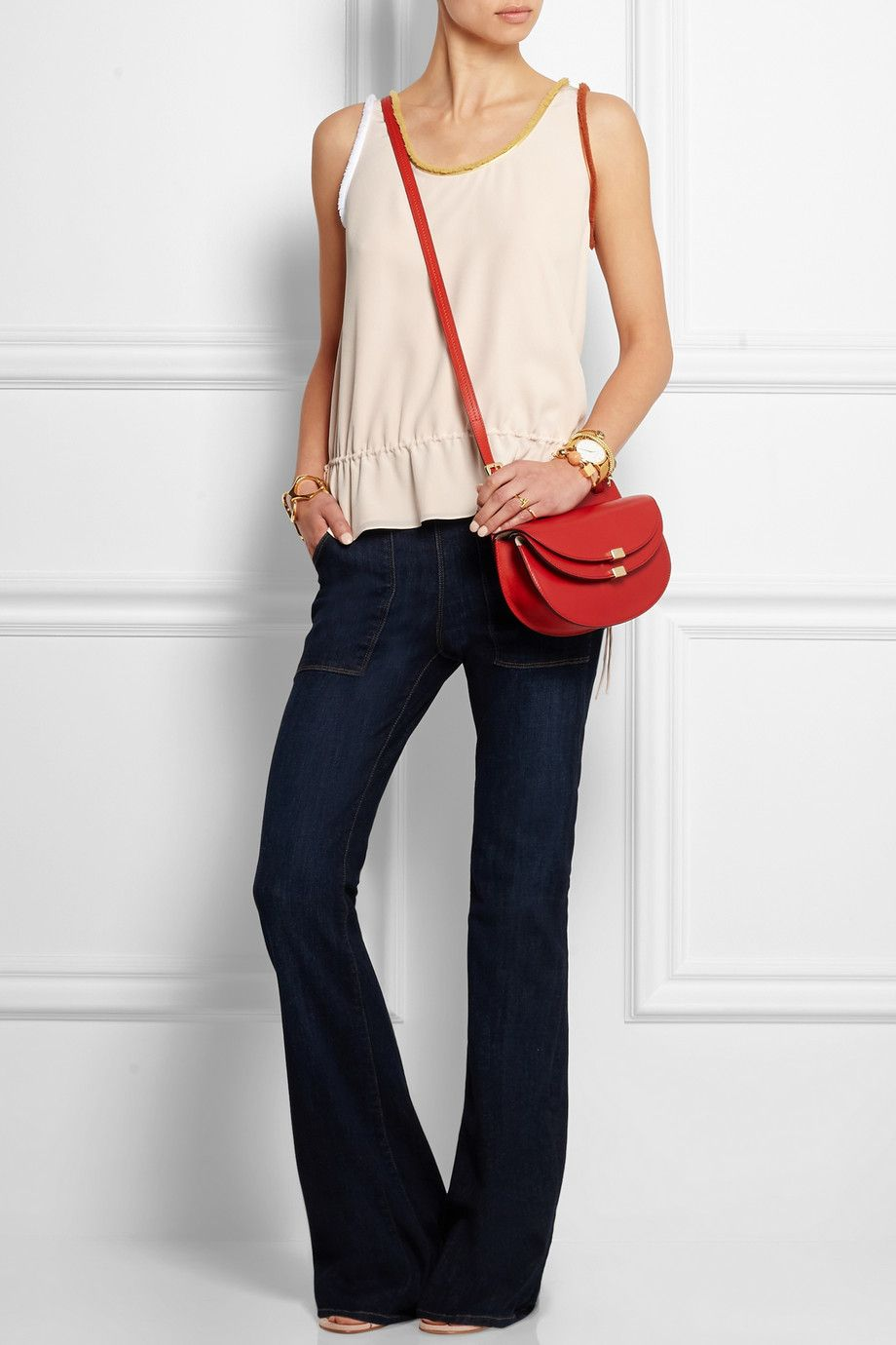CHLOÉ Fringe-trimmed silk crepe de chine topFRAME DENIM Le Flare de  Francoise high-rise jeansChloé  1109fe42d4