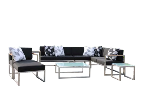 Introducing the Michi Lounge Set! Shiny, new, and refreshingly modern. Made with state of the art stainless steel, cartenza sunproof fabric, and Quick Dry Foam cushions. Celebrate the outdoors! Price reflects floor model configuration.