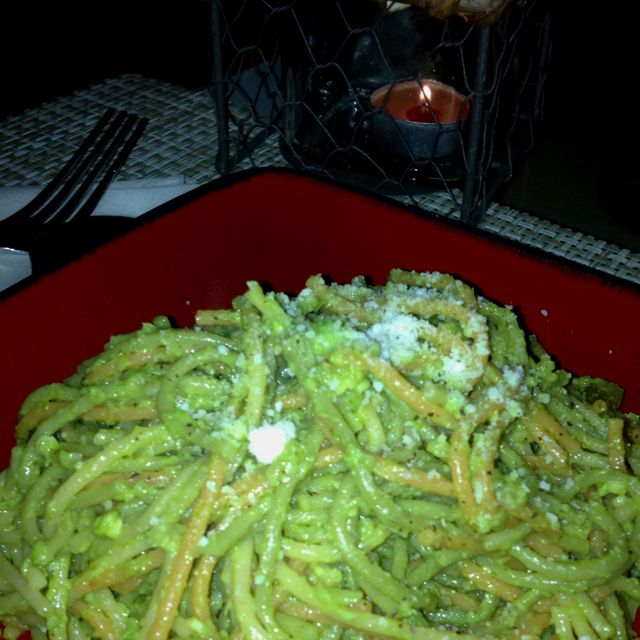 Creamy avocado pasta!! Delicious ...next time will use shaved Parmesan :-)