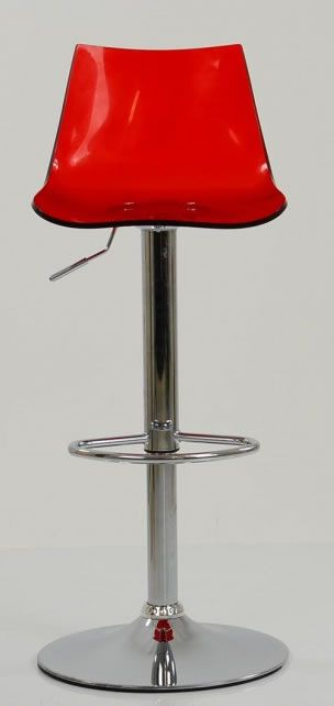 Haley Red Acrylic Perspex Kitchen Breakfast Bar Stool Height Adjule